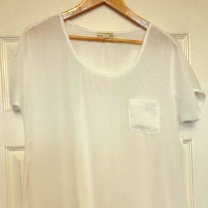 Tops - White silky blouse. Size L.